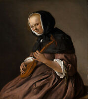 """oil painting  handpainted on canvas""""Woman Playing the Cittern"""""""