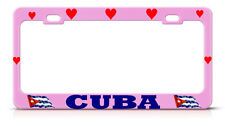 LOVE HEART CUBAN Heavy PINK License Plate Frame CUBA FLAG PRIDE SUV Auto Tag