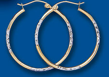 Hoop Earrings Gold Hoops Yellow and White Gold Creole 30mm Hallmarked