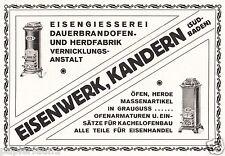 Eisenwerk Kandern Reklame von 1921 Ofen Herd Dauerbrandofen Gießerei Werbung ad