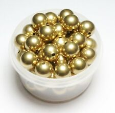 12 MM  Smooth Brass Large Round Seamless Hollow Beads 100 Pcs. Hole 2.0 MM