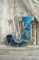 FANTASTIC VINTAGE STYLE METAL 3D BLUE J LETTER FONT SHOP SIGN WALL PLAQUE