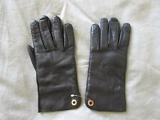 NWOT LORO PIANA black soft capretto kidskin leather w/cashmere silk lining M