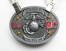 Die Usmc Gun Metal Graphic Belt Buckle Vntg Us Marine Corps. Semper Fi Til you