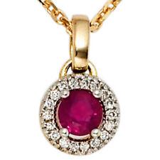 Halsketten und Anhänger mit Rubin runde Echtschmuck für Damen