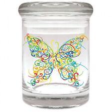 BUTTERFLY GLASS Airtight Smell Proof Spice Herb Storage STASH JAR 1/8 oz
