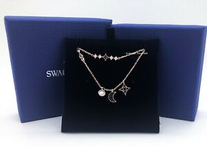 New SWAROVSKI Rose Gold Crystal Moon & Star Layer 2 Necklaces Gift Set 5273290