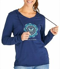 Life Is Good Womens Butterfly Coin Hooded Top