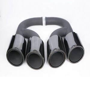 VI Black Stainless Steel Exhaust Tail Tips End Long Pipe For Porsche Cayenne V6