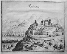 Burg Kropfsberg Tirol Inn Österreich  Merian  Kupferstich der Erstausgabe 1644