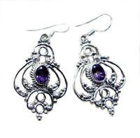 ideale Amethyst 925 Sterling Silber lila Ohrring echten Edelstein DE Geschenk