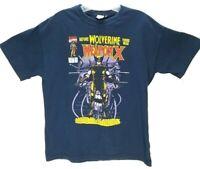 Mad Engine Official Marvel Weapon X Comic Wolverine Men's Blue T-Shirt Size S-M