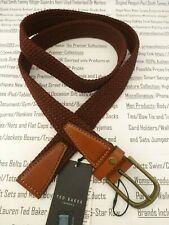 TED BAKER Webbing Belt Men Elastic Stretchable Leather Size M/L Red Belts BNWT
