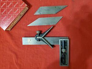 Vintage Starrett No. 13 F double square 6 inch w 30 45 degree bevel blades & box