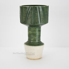 Mid Century Ikebana Vase Tall Green Pottery Crackle Container Japan Modernist
