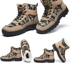 Mens Camo Steel Toe Safety Work Boots Shoes Hiking High Top Fur Lined Warm Shoes