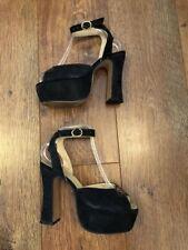 Reino Unido 5 Negro Gamuza Plataforma Zapatos De Invierno/Navidad/Towie/Club/Fiesta/verano/Celebridad/De Lujo
