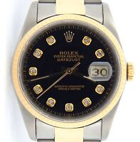 Rolex Datejust Mens 18K Yellow Gold & Stainless Steel Oyster Black Diamond 16233