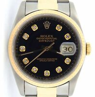 Rolex Datejust Mens Yellow Gold & Stainless Steel Watch Black Diamond Dial 16233