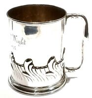 TIFFANY & CO MAKERS RARE 1800s STERLING SILVER REPOUSSE MUG TANKARD CUP 179 GRAM