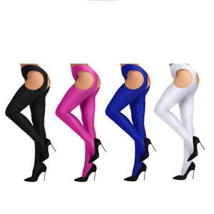 Women Open Crotch Crotchless Pantyhose Stockings Tights Suspender Body Clubwear