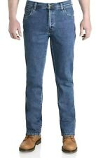 Mens Wrangler Durable Stretch Denim Jeans Basic Regular Stone Wash Blue W30 L30