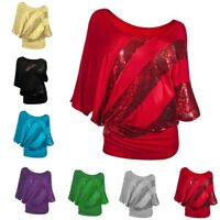 Womens Batwing Short Sleeve Sequin T Shirts Ladies Loose Casual Tops Blouse AU
