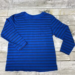 HANNA ANDERSSON Blue Striped Long Sleeve Shirt, Size 100 (US 4T) STAIN