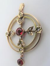 ANTIQUE EDWARDIAN 9CT SEED PEARL AND RED STONE PENDANT