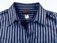 KL978 BEN SHERMAN beautiful semi shiny striped shirt size 16 wmns, unused BNWT!