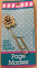 1990 22K Gold Plated Page Marker w/Bears, Heart & Cross by Bob Siemon Designs
