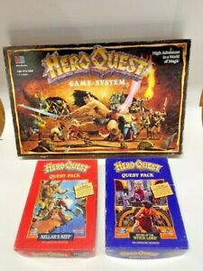 HEROQUEST HERO QUEST MB BOARDGAME WITH RETURN WITCH LORD & KELLAR'S KEEP VINTAGE