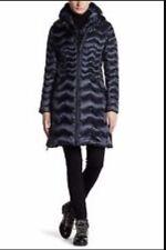 Dawn Levy Woman's Navy Blue Karen Down Chevron Puffer Coat Jacket Hooded XS