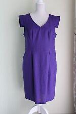 Size 16 F&F Dress Purple Linen Blend V-Neck Pockets (142)