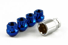 Locking Open End Wheel Nuts STEEL - Blue - M12 x 1.5 Toyota Mitsubishi Honda