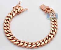 Solid 14K Rose Gold Miami Cuban Link Mens Bracelet 10.5 mm 8 Inches
