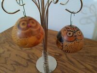 "Christmas Ornaments, Peruvian Gourds, 2 Owls Approx 3"" Tall"