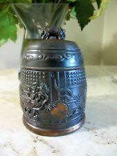 New listing Occupied Japan copper jar, box. Embossed Dragon & sun