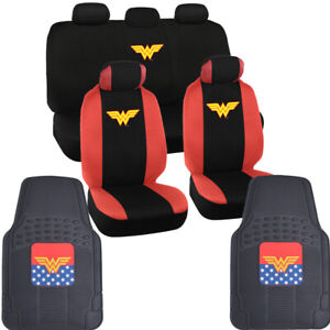 Wonder Woman Car Floor Mats and Seat Covers Full Gift Set for Auto