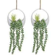 6-inch Modern Circular White Ceramic Hanging Planters with Twine Rope, Set of 2