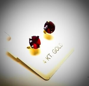 Garnet deep Red earrings 14k Solid yellow gold