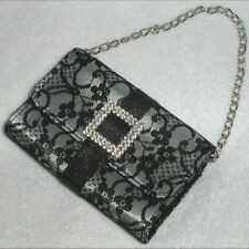 Bling! Ladies' Black Lace Diamond Small Cellular Phone Credit Card Makeup Pouch