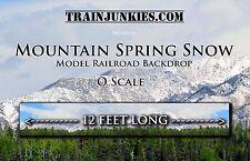 "TrainJunkies O Scale ""Mtn Spring Snow"" Model Railroad Backdrop 24x144"" W/Trees"