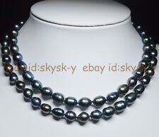Long 30 Inches Charming 9-10mm Black Tahitian Cultured Rice Pearl Necklaces