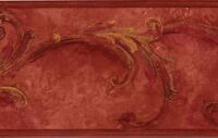 Wallpaper Border Rust Red with Gold Acanthus Leaf Architectural Scroll