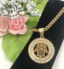 Gold Plated, Stainless-Steel, Hamsa Hand CZ Pendant & Chain, Good Luck, Men Gift