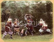 Samurai Warriors in Armour Fight Pose Swords 1880 Japan 5x4 Inch Reprint Photo