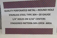 """20 GA .1/4""""HOLES STAINLESS STEEL PERFORATED SHEET 24"""" X 48"""""""