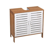 Under Basin Bathroom Cabinet | 2 Door Storage Supplies Unit | White Bamboo Wood