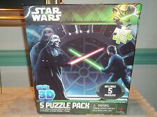 "2013 Star Wars Super 3D 5 Puzzle Pack 12"" X 9"" & 9"" X 6"" Jigsaw Puzzles NEW!!!"